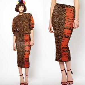 ASOS House of Holland Leopard Logo Midi Skirt